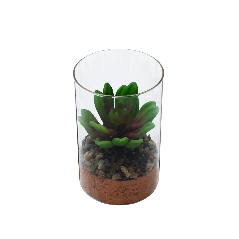 Vaso Vidro Com Planta Artificial Life Terrarium Transparente - Urban