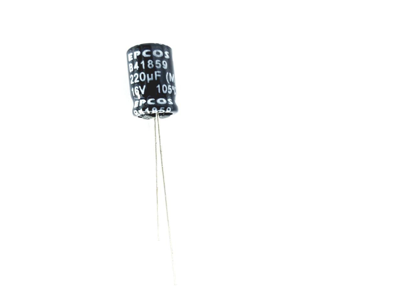 100 peças Capacitor eletrolítico radial  220 Uf x 16 V 105 ° graus Epcos