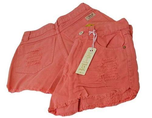 Shorts Jeans Desfiado Cintura Alta Rosa Salmão Laranja