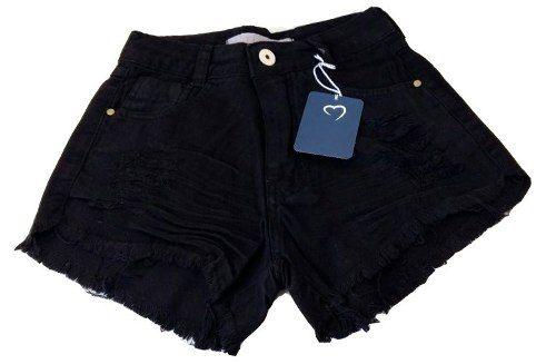 Shorts Jeans Escuro Hot Pants Desfiado Cintura Alta Preto