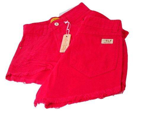 Shorts Jeans Hot Pants Cintura Alta Destroyed Rosa Pink