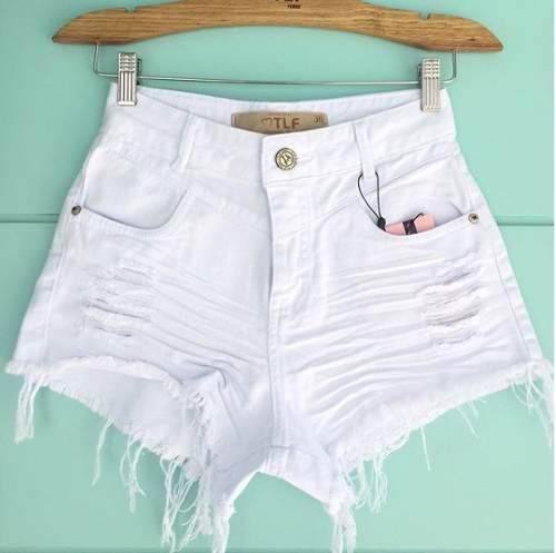 Shorts Jeans Hot Pants Cintura Alta Destroyed Branco Branca