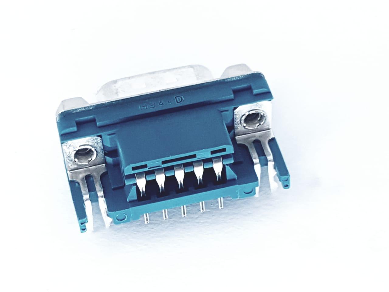 10 peças Conector DB9 Macho 90° para Solda Placa