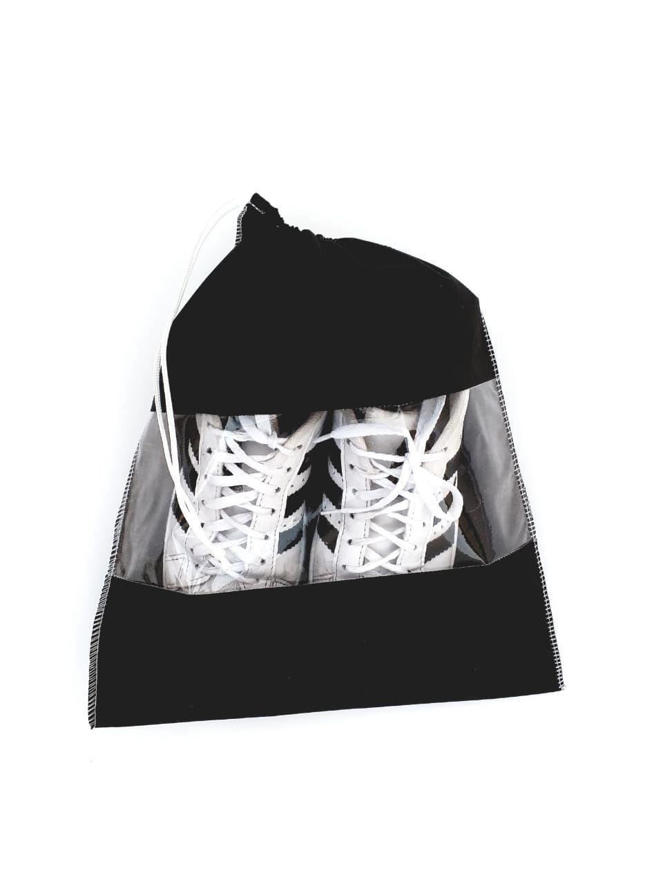 10 Sacos organizadores para sapato, tênis, sandálias e outros na cor Preta em TNT com visor transparente