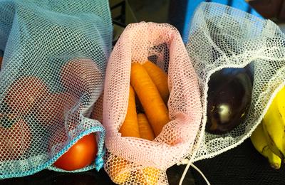 10 Saquinhos Kit Hortifruti Zero Plástico para compras mercado frutas, legumes e verduras na cor LARANJA FM4