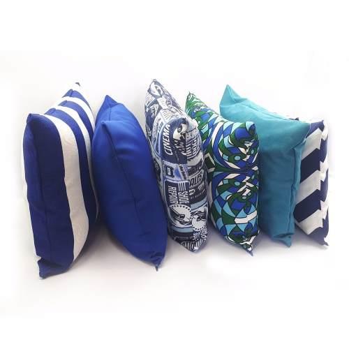 Kit 6 Capa Almofada Estampada Lisa Azul Decoração Casa Decor