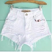 1f0810af9 Shorts Jeans Hot Pants Cintura Alta Destroyed Branco Branca