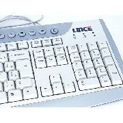 Teclado Para Computador Pc Desktop Ps2 Branco E Cinza K366