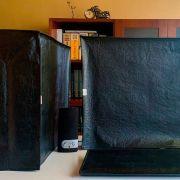 Conjunto Capas De Proteção completo para seu  Computador Gabinete, Monitor e  Teclado na cor Preta em Corino Impermeável 19,20 e 21 polegadas