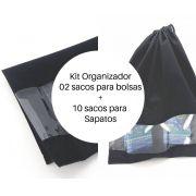 Kit de saco organizador para sapatos e bolsas com visor embalagem