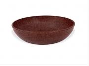 Travessa Saladeira redonda marrom imbuia de material plástico sustentável para casa e cozinha