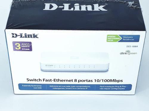 Hub Switch 8 Portas 10/100mbps D-link Des1008a Novo Na Caixa