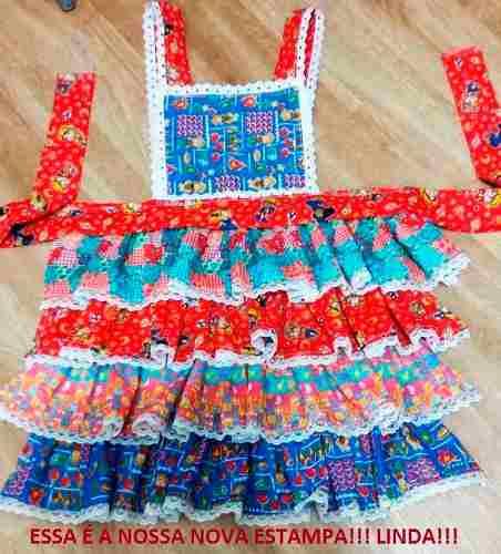 Vestido de Festa Junina modelo Adulto de estilo Avental com Estampa temática
