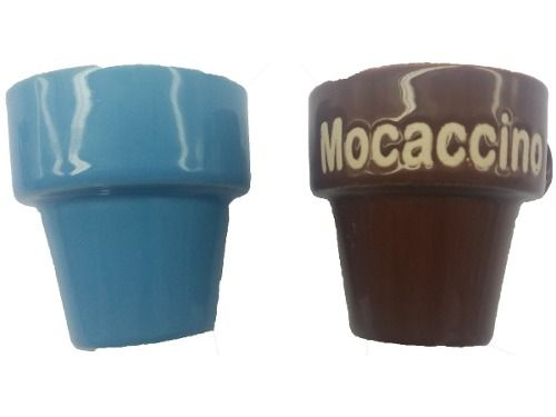 Jogo De Xícara Café 60ml Porcelana Suporte Azul Marrom