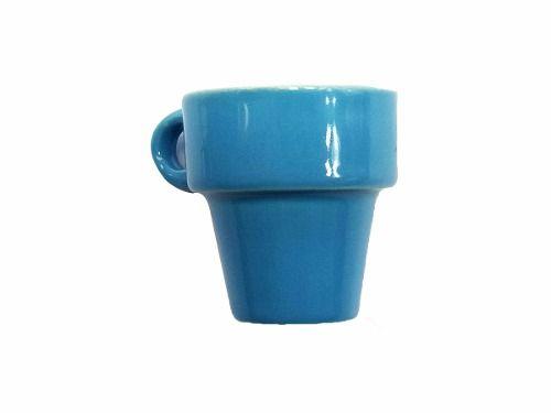 Jogo Xícara Café Vintage 60 Ml Porcelana Azul Capuccino