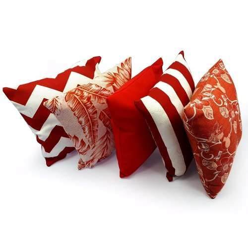 Kit 5 Capa Almofada Decorativa Estampada Chevron Vermelha