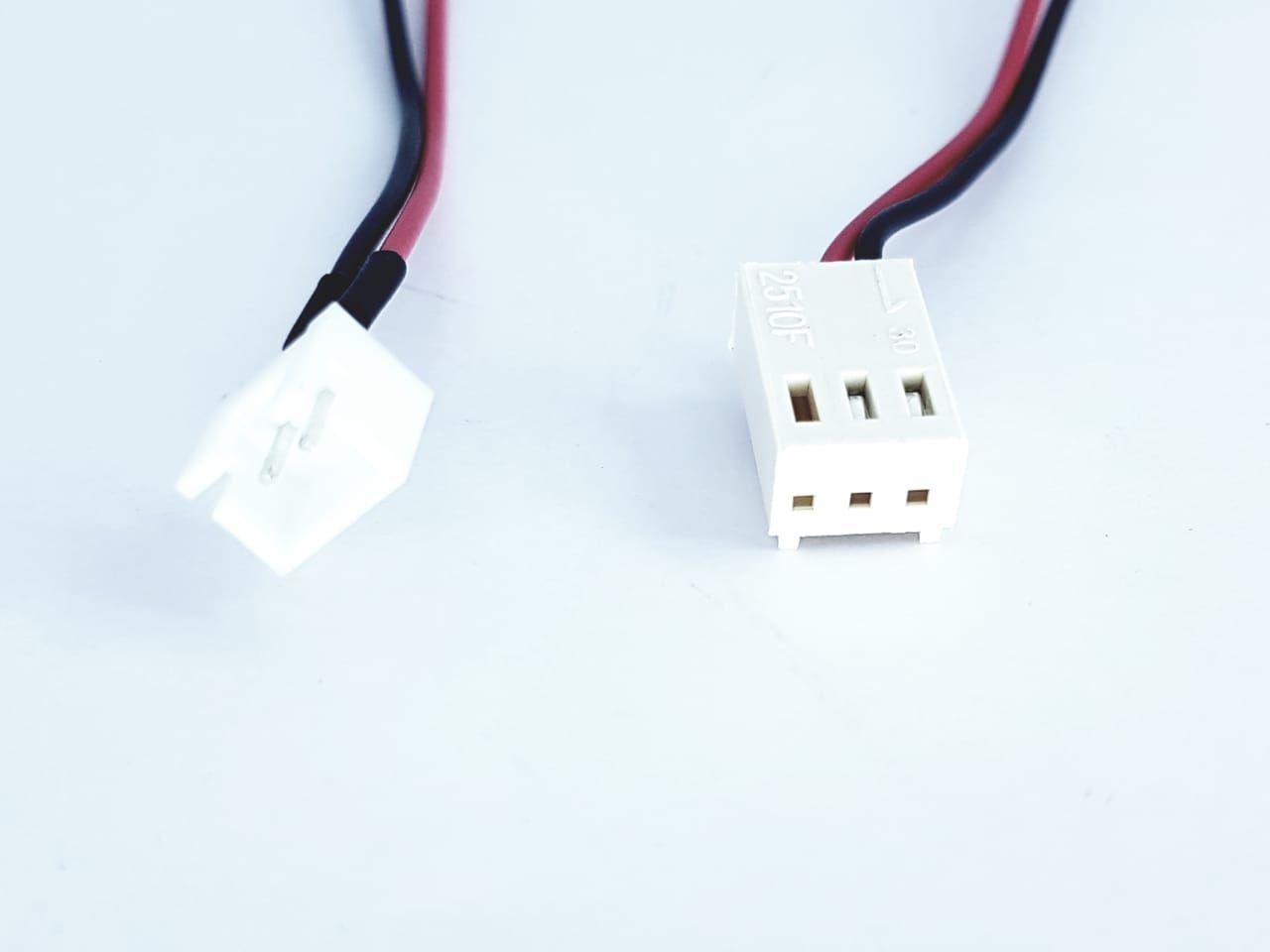 Cabo adaptador molex 3 pinos fêmea F  para 2 pinos macho 30 cm cooler ventilador