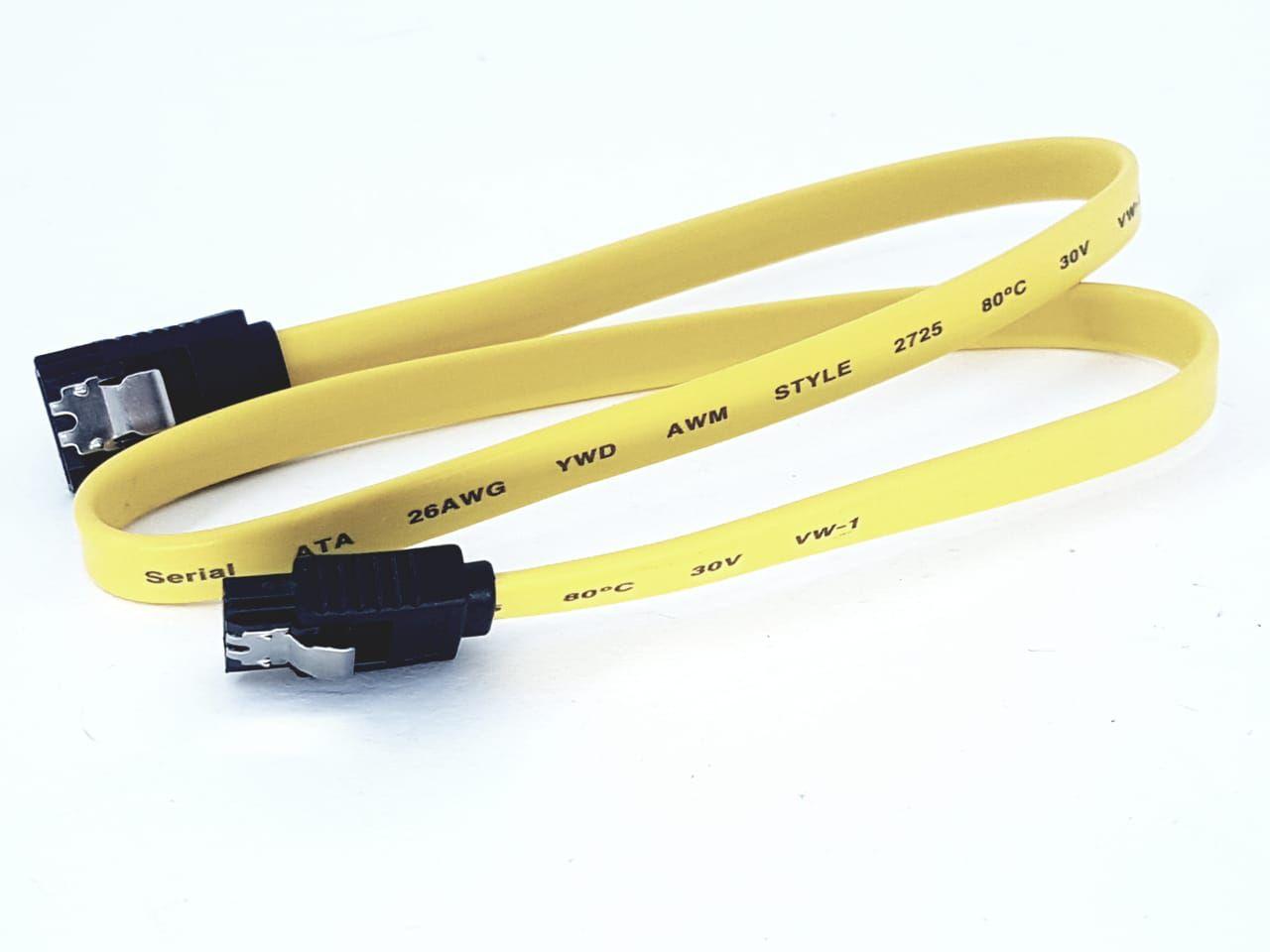 Cabo De Dados Sata Com Trava Amarelo 50cm Novo