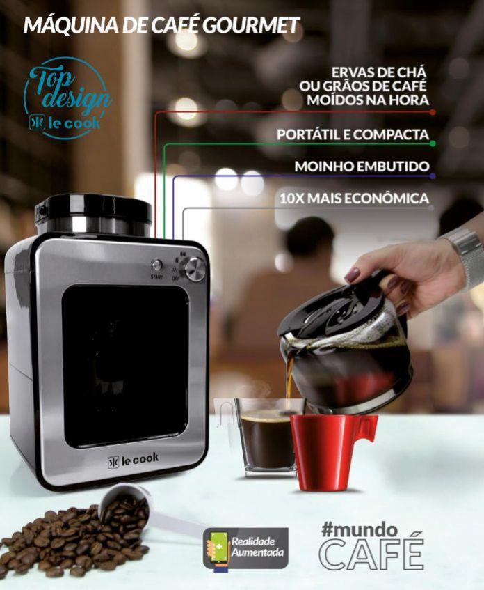 Cafeteira Gourmet Le Cook + Jogo de Xícaras + Café Pilão em Grãos