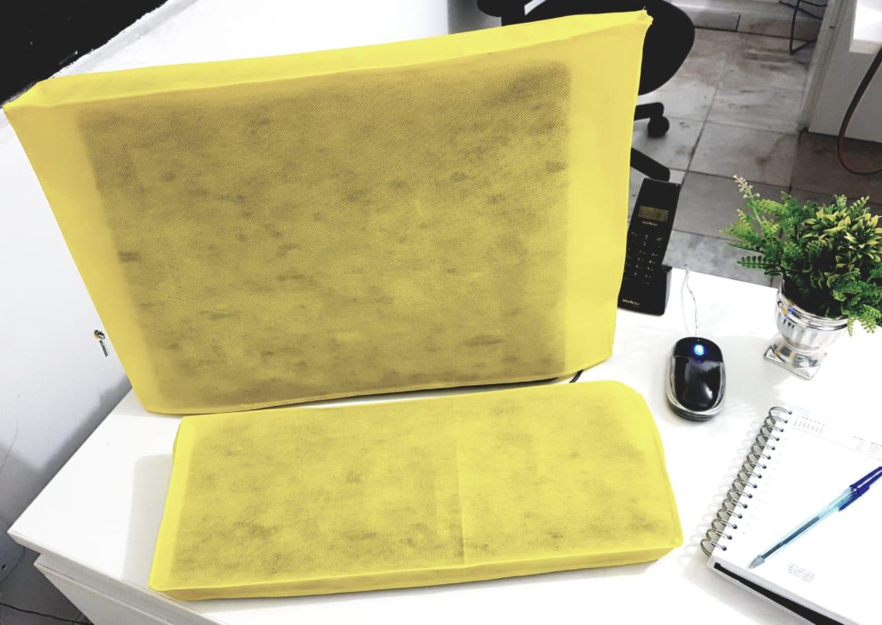 Conjunto de Capas para Teclado e Monitor 19 , 20 e 21 Polegadas na cor Amarela em TNT