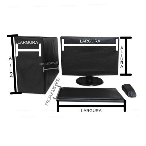 Capa para Monitor Lcd Wide LG-W1941-S  18 ou 19 Polegadas  e teclado  na cor preta  em TNT