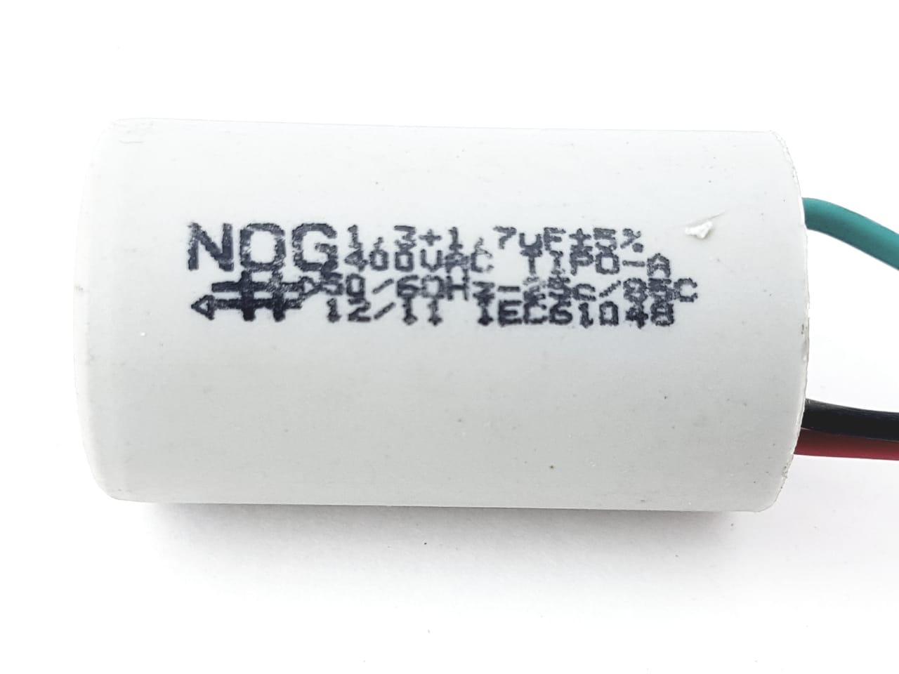 Capacitor Para Ventilador 3 Fios 1,3+1,7uf 400VAC +- 5% 50/60hz NOG
