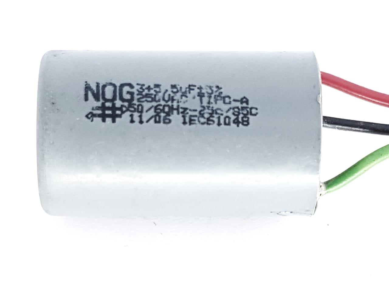 Capacitor para Ventilador 3  Fios 3+5,5UF  5%  250VAC NOG