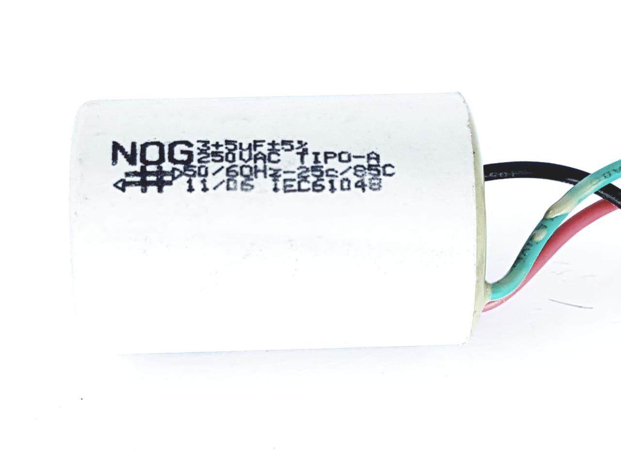 Capacitor para ventilador 3 fios 3 + 5 UF 5% 250V teto