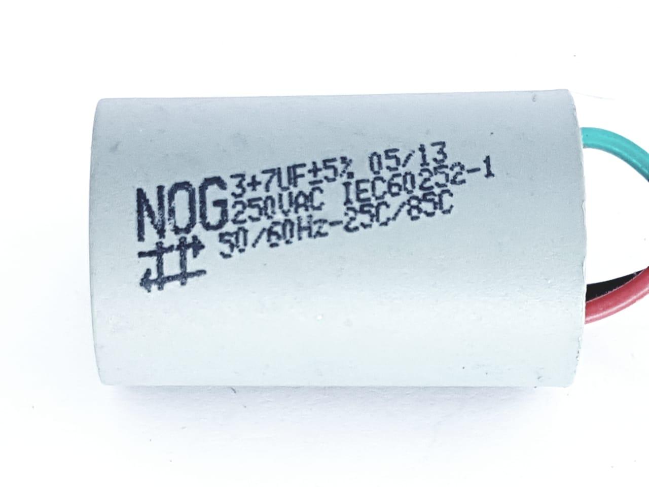 Capacitor para ventilador 3 fios 3 + 7 UF 5% 250VAC NOG