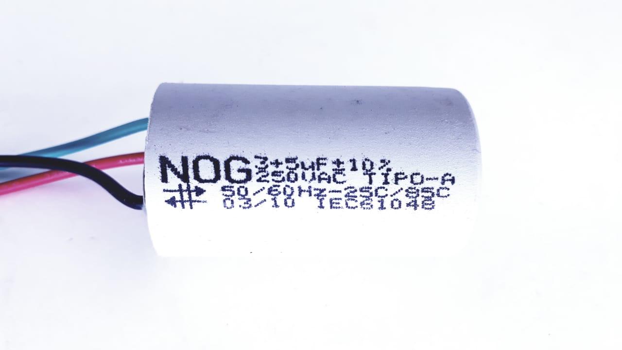 Capacitor Para Ventilador De 3 Fios 3 +5uf 10% 250VAC NOG