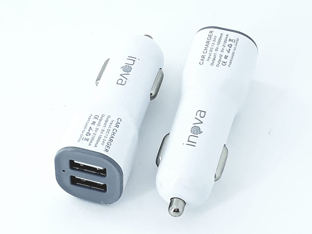 Carregador Veicular Branco 2 portas usb car charge Inova