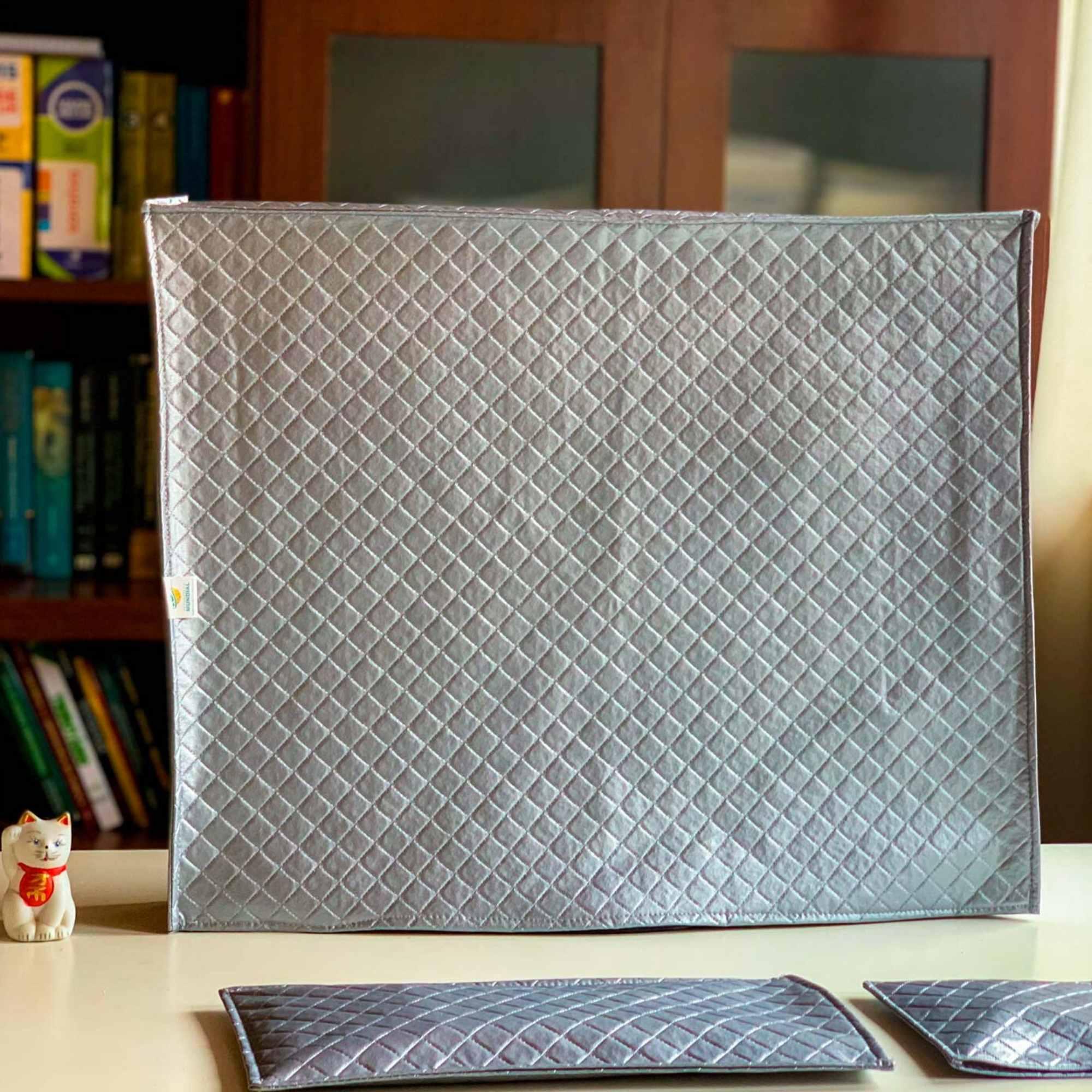 Case para Imac de 27 polegadas na cor Cinza com Capa de teclado e mouse  em Corino Impermeável Super Luxo