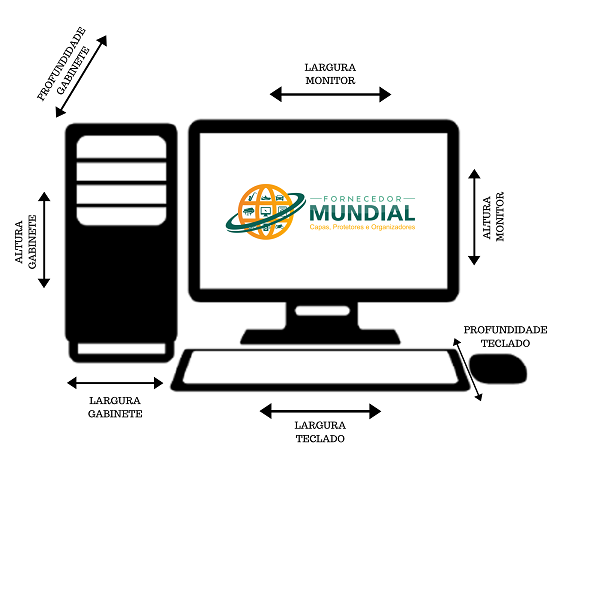 Conjunto Capas De Proteção completo para seu  Computador Gabinete, Monitor e  Teclado 22,23 e 24 polegadas em Corino Preto Impermeável