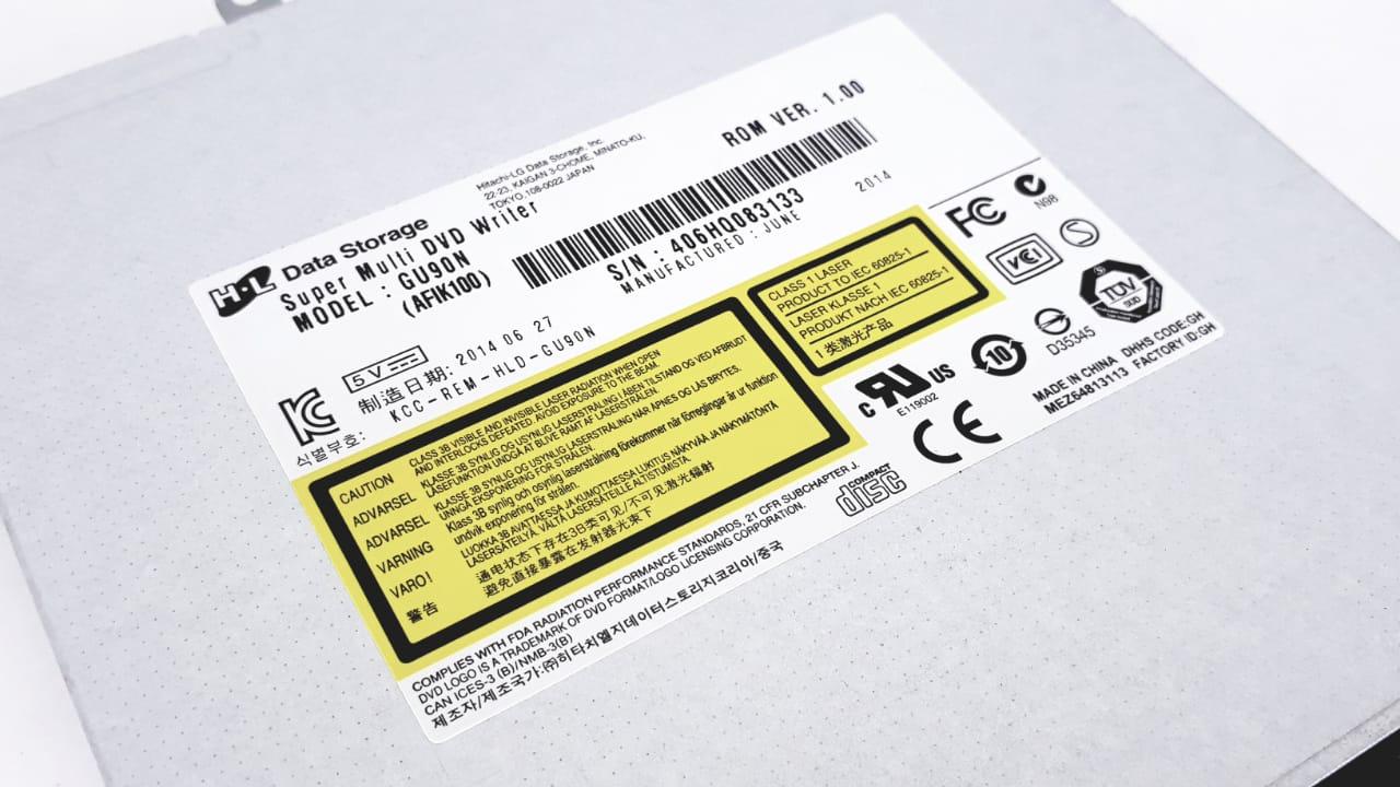 Drive Gravador para notebook de CD e DVD RW Sata Compatível com N1403 N1406 modelo GU90N da marca Hitachi-Lg  altura 0,9 cm