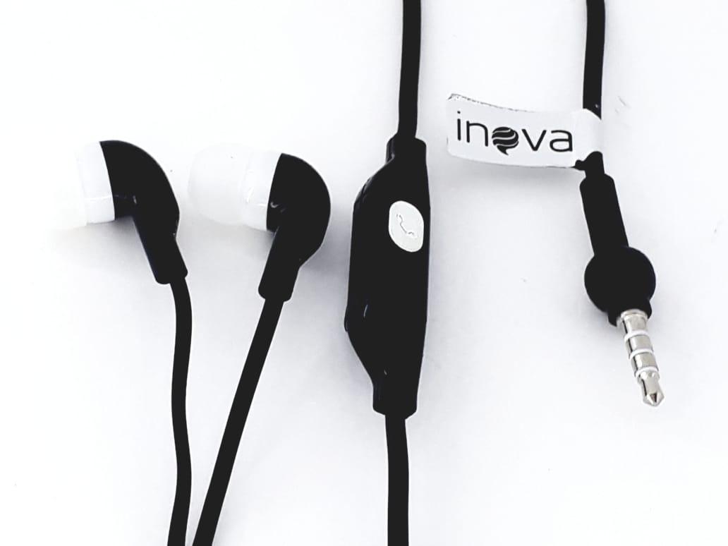 Fone de ouvido preto com microfone para celular Inova