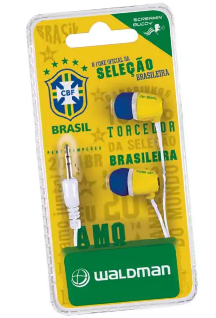 Fone de ouvido Waldman Brasil Copa Rússia 2018 celular Iphone Ipad Ipod Mp3