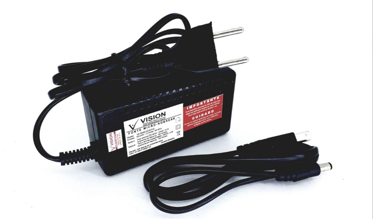 Fonte Micro Nobreak 5v e 12v utilizada em Modem Cftv e Terminais da marca Vision  Modelo VS-FMNB12E05