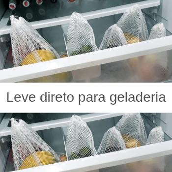 Kit 10 Saquinhos frutas mercado sustentável + canudos de alumínio reutilizável