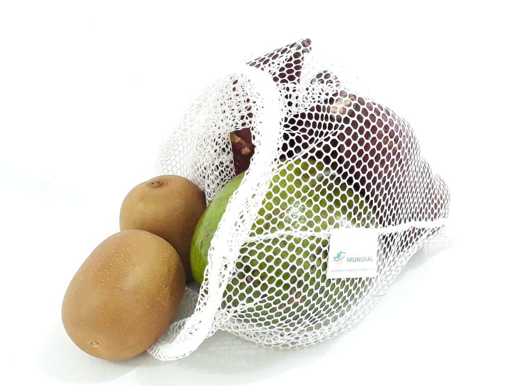 Kit 20 Saquinhos frutas mercado sustentável + canudos de alumínio reutilizável