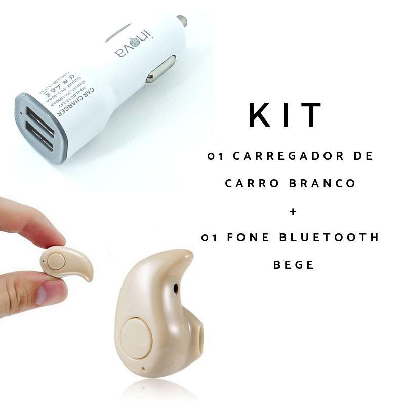 Kit 2 peças Fone bluetooth bege + Carregador veicular 2 portas usb