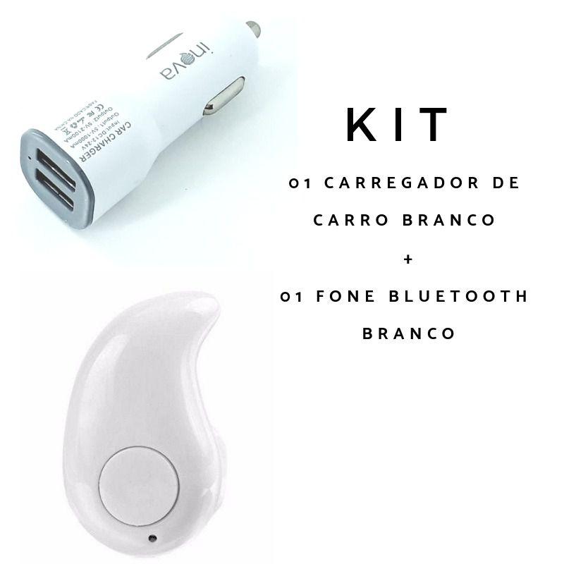 Kit 2 peças Fone bluetooth branco + Carregador veicular 2 portas usb