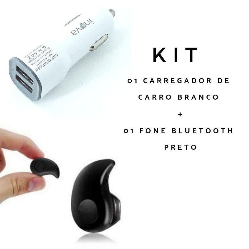 Kit 2 peças Fone bluetooth preto + Carregador veicular 2 portas usb