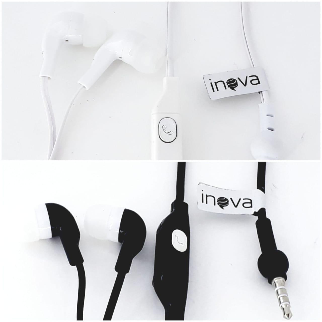 Kit com 2 peças Fone de ouvido preto e branco com microfone para celular Inova