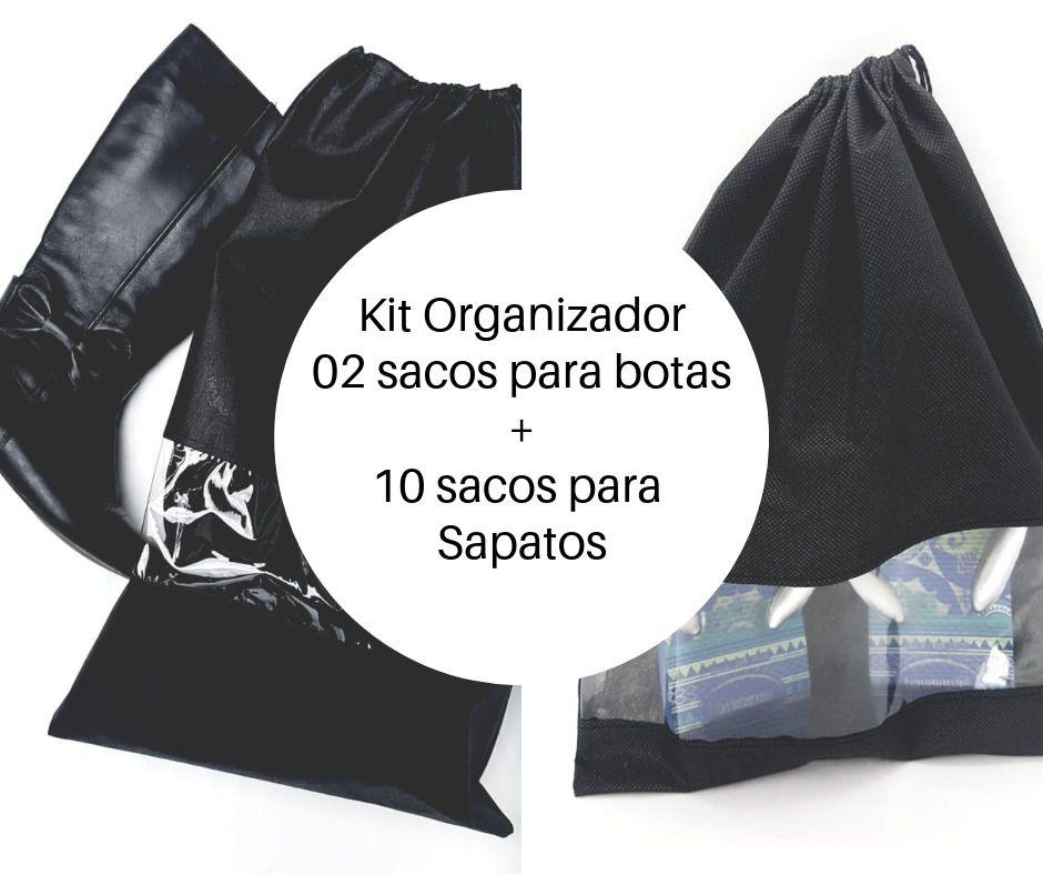 Kit de saco organizador para sapatos e botas com visor embalagem