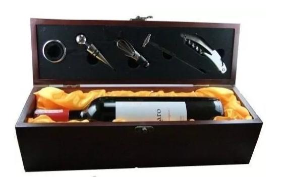 Presente dia dos pais Caixa para Vinho Luxo com 6 Acessórios Inox Caixa Madeira com Dosador