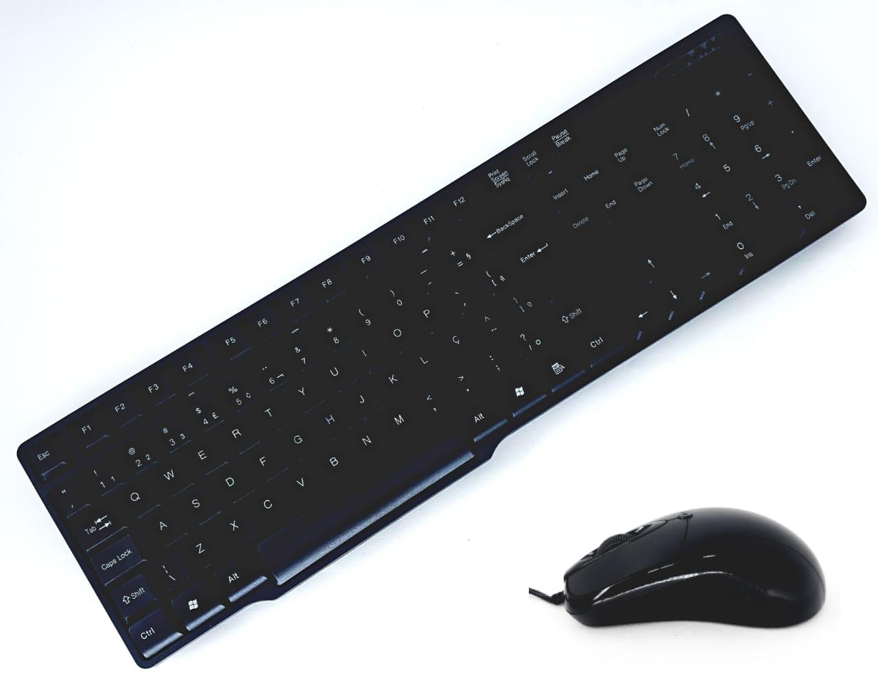 Kit teclado abnt2 e mouse optico usb preto novo