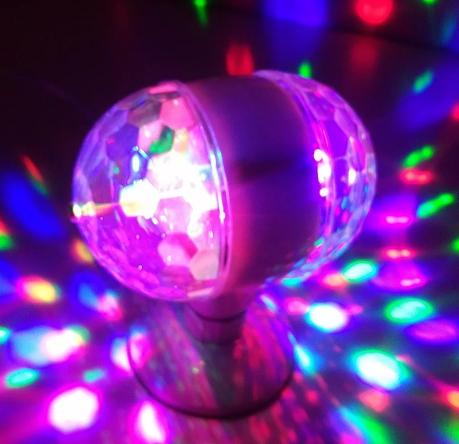 Lâmpada de Led Colorido Giratória Rotativa Bola Maluca Festa Dj
