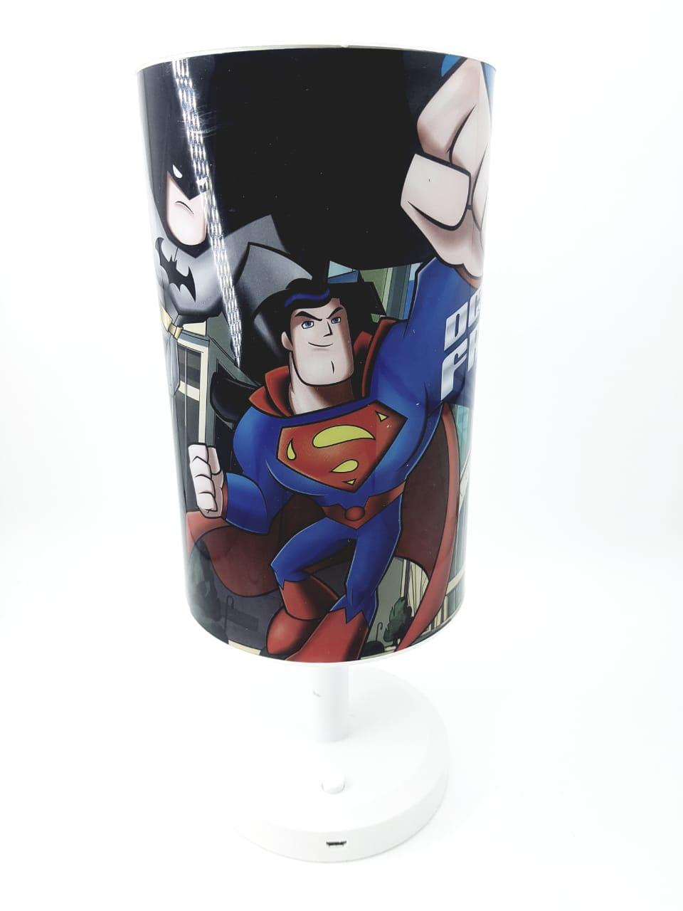 Luminária de mesa Infantil Abajur Criança Super Herói