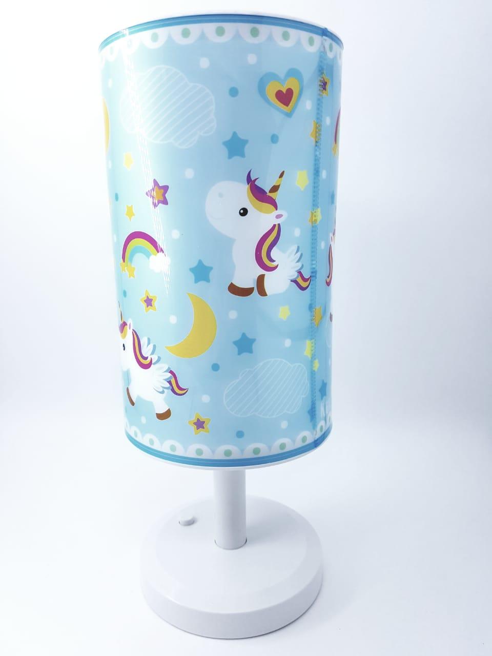 luminária de mesa Infantil Abajur Criança Unicórnio Azul bebê