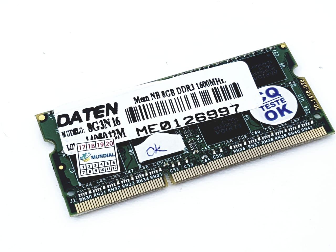 Memória para Notebook DDR3 8G 1600Mhz Semi Nova